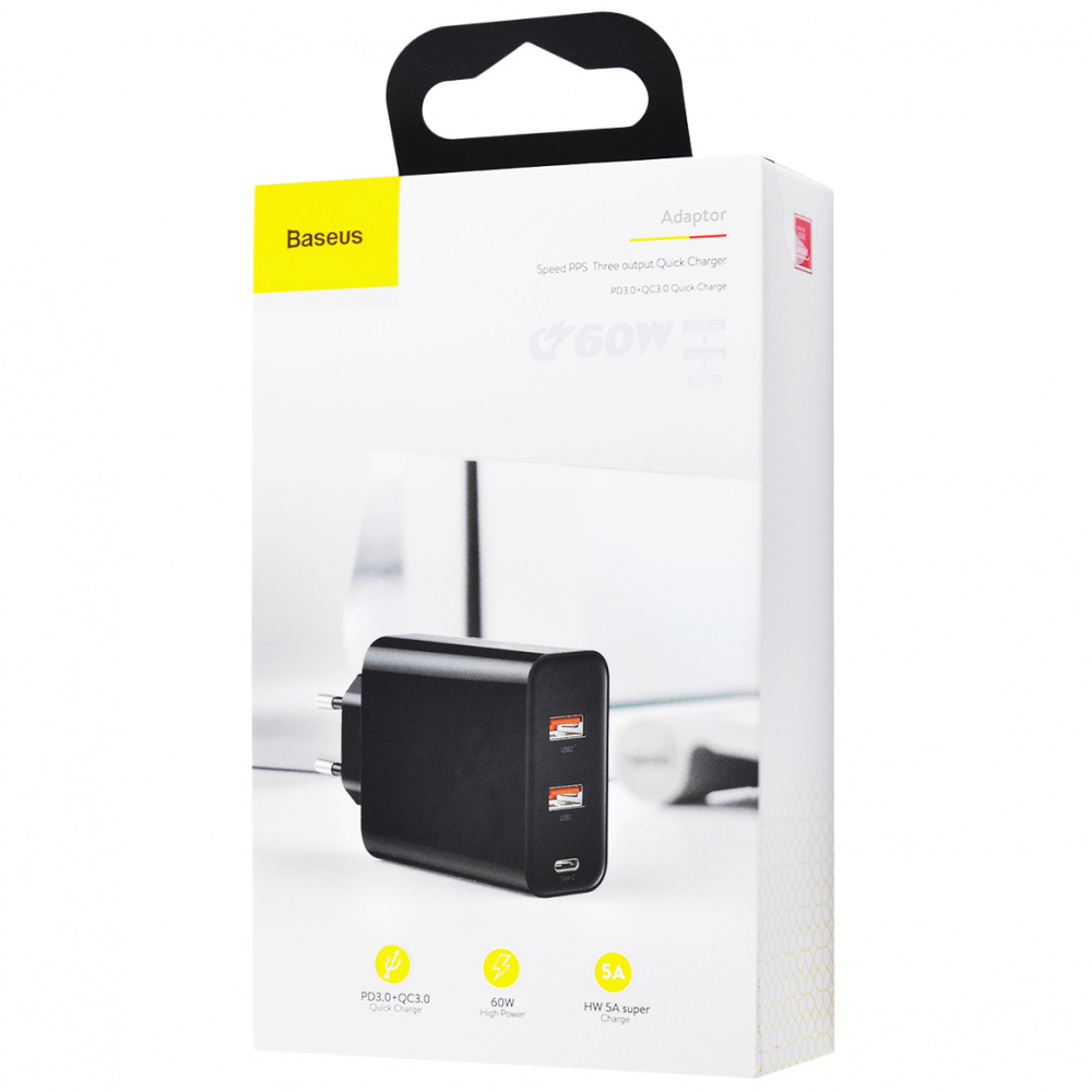 СЗУ Baseus PPS Three Output Quick Charger 60W (Type-C+2USB)